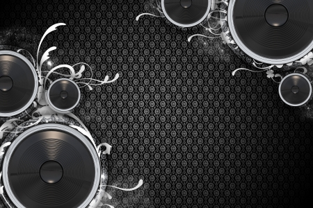 Music Theme: Floral Speakers - Floral Dark Background Pattern. Bass Speakers Bottom-Left and Top-Right Corners. Cool Music Background. Great For Any Music Event Posters or Flyers. Фото со стока