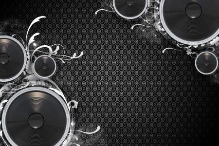 Tema musical: Altavoces florales - diseño Floral de fondo oscuro. Altavoces bajo inferior izquierda y superior derecha esquinas. Enfriar la fondo de música. Ideal para cualquier evento carteles de música o volantes. Foto de archivo - 10642358