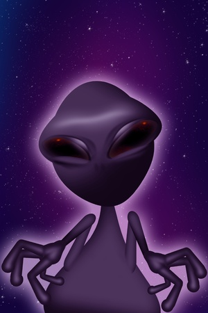 ufology: Purple Alien - Purple Night Sky Background. Vertical Illustration. Funny Big Eyes Alien Illustration.