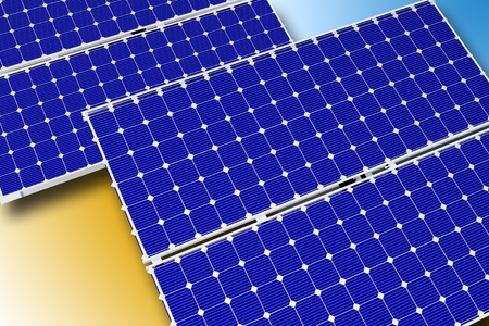 voltaic: Solar Technology Theme. Photovoltaic Solar Panels. Horizontal Illustration. 3D Rendered Graphic.
