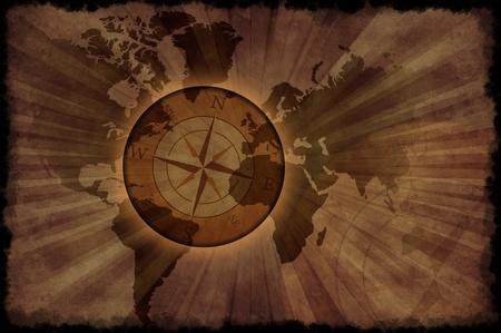 レトロな世界地図 - ヴィンテージ世界地図とコンパス ローズ。グランジ茶色がかった背景 (古い紙のスタイル) 黒グランジ エッジ。