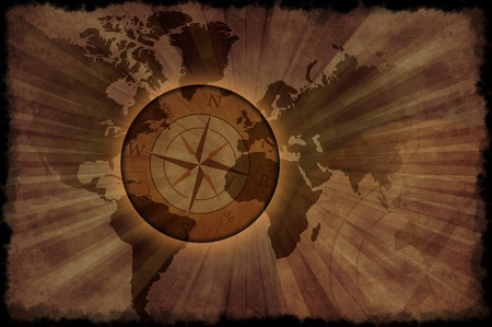 Retro World Map - Vintage World Map with Compass Rose. Grunge Browny Background ( Old Paper Style ) Black Grunge Edges. photo