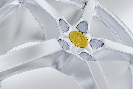 Silver Alloy Wheel Modern Design. Gray Background.
