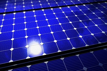 metal: Solar Energy Theme: Solar Panel Cool Blue Eco Background. Renewable Natural Power Technology.