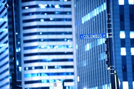 N Columbus Drive Chicago Street Sign. Downtown Chicago by NIght. Traffic Signs. Chicago USA.