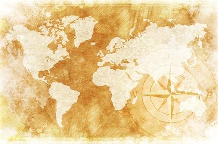 昔ながらの世界地図デザイン: 素朴な世界地図とコンパス ローズ イラスト背景します。