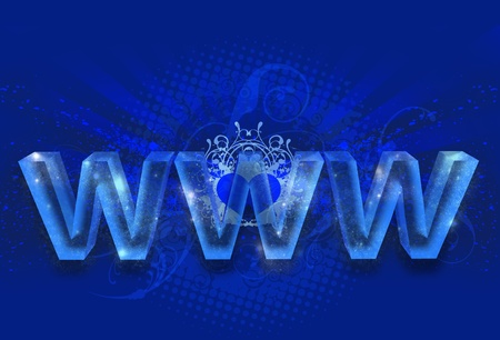 domains: Magic WWW - Glassy Blue WWW  World Wide Web  . Cool Blue Internet Theme with Glassy Letters (WWW), Cool Ornaments and Rays. Heart in the Center.