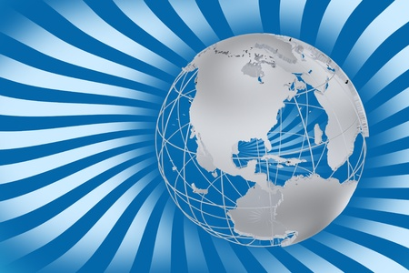 Global Rays - Global Corporate Background. Blue Twisted Rays and Silver World-Globe Model. Horizontal Design photo