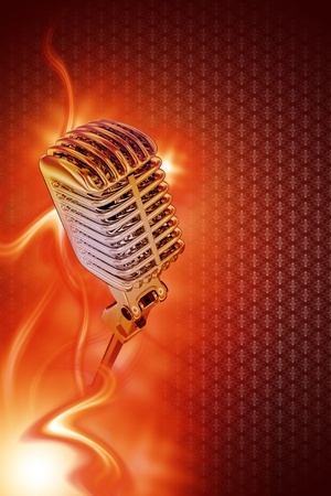 retro microphone: Vintage Stylish Microphone in Flames. Karaoke Theme. Great Design for Your Karaoke or Concert Event. Just Place Your Content. Karaoke Vertical Copy Space Background Stock Photo