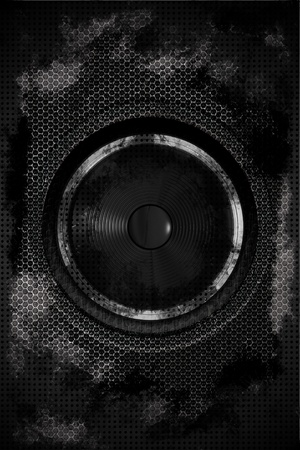 technology background: Grungy Dark Dirty Bass Speaker. Hard Music Theme. Black Grunge Damaged Metal Sheets with Bass Speaker in the Center of Composition. Meshy Steel Elements. Speaker-Music Vertical Theme.