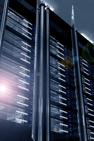 virtualization: Modern Data Center with Lens Flare. Servers Racks - Dark Metal, Glass and Chrome Elements Racks. Elegant Modern Data Center. Hosting Theme 3D Render Illustration.