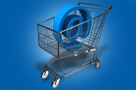Internet Cart. Shopping Cart with At (E-mail Symbol) Inside. Blue Background. Internet Shopping Theme. 3D Render Illustration. illustration