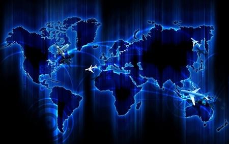 Air Ways World Wide. Cool Glowing Blue World Map met Air Ways - Global Airlines bestemmingen. Kleine 3D vliegtuigen vliegen boven de kaart. Populaire steden als Punten: New York, Chicago, Miami, Los Angeles, San Francisco, Londen, Frankfurt, Rome, Sydney, Moskou, T