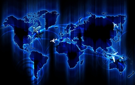 Air Ways World Wide. Cool Glowing Blue World Map with Air Ways - Global Airlines Destinations. Small 3D Planes Flying Above the Map. Popular Cities as Points: New York, Chicago, MIami, Los Angeles, San Francisco, London, Frankfurt, Rome, Sydney, Moscow, T
