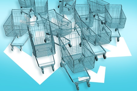 advertiser: Cart-mageddon! Shopping Carts Attacks! Fast Ride Follow White Arrows. Marketing E-Commerce Theme. 3D Render Illustration. Stock Photo