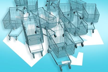 Cart-mageddon! Shopping Carts Attacks! Fast Ride Follow White Arrows. Marketing E-Commerce Theme. 3D Render Illustration. Stock Illustration - 10642369
