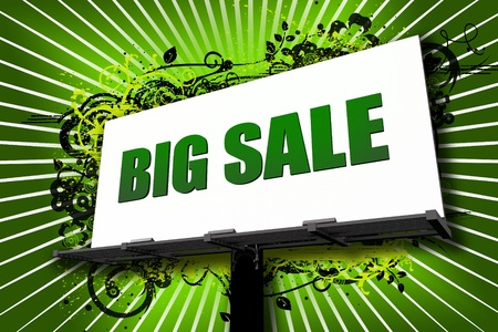 Big Sale Billboard Illustration with Cool Ornament Green Background. White Background Rays and Green Big Sale Letters. City Billboard  - Urban Theme illustration