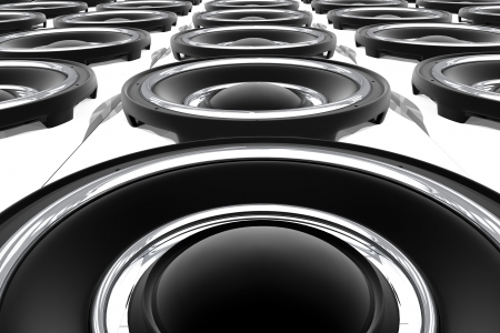 Large Bass Speakers Wall. Show-Stage Theme. 3D Rendered Speakers. View From the Bottom. Music Illustrations Collection.
