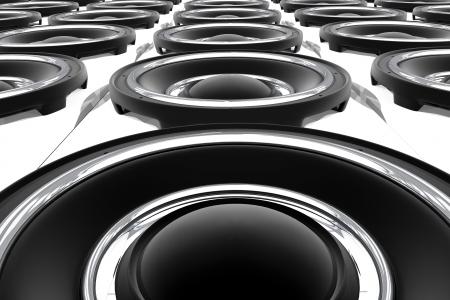 Grote Bass Speakers Wall. Show-Stage Theme. 3D Gesmolten Speakers. Uitzicht vanaf de Bottom. Muziek Illustraties Collection.