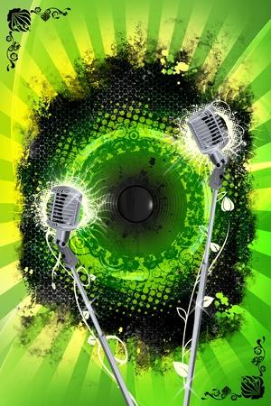 Cool Grunge Karaoke Design. Vertical Karaoke Theme with Grunge Metal Sheets, Splashes and Two Steel Retro Microphones.  Stock Photo - 10642449