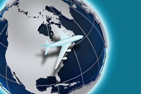 spedition: Airlines Air Transport 3D Render Illustration Theme. Worldwide Air Transportation. Globe Illustration and Flying Airliner. Cool Blue Background. Abstract Illustration.