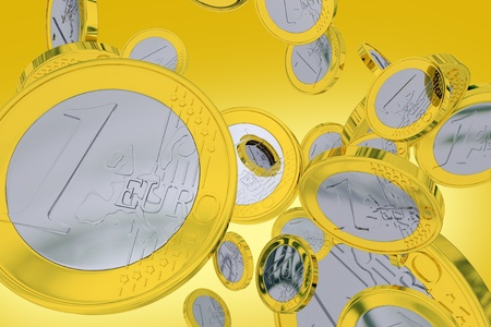 Falling One Euro Coins - Orange-Yellow Background. European Union Currency. 3D Render illustration. Banco de Imagens
