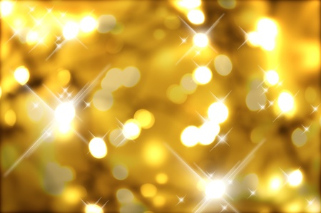 Cool Golden Christmas Background with Flash Lights and Bokeh. Stock Photo