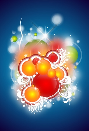 Christmas Abstract Illustration with Christmas Ornaments. Blue Background and Glowing Particles.