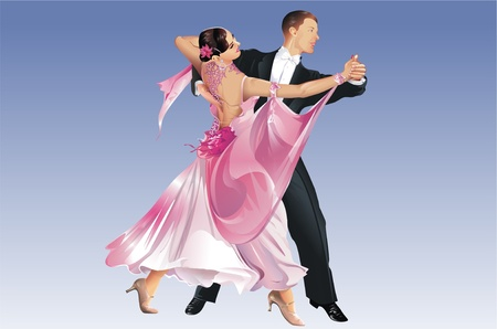 클래식 댄서. 탱고 댄스. 경쟁을 춤. 이것은 래스터 그림이 아닌 벡터 파일입니다. 파란색 배경