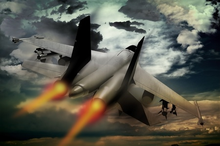gov: Flying Fighter Jet. Accelerating Fighter Jet Illustration. Dramatic Stormy Sky. Military Technology Illustration Collection Stock Photo