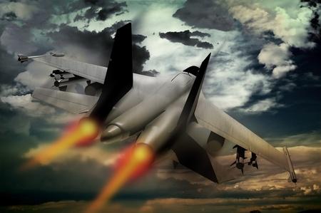 fighter pilot: Vuelo caza a reacci�n. Aceleraci�n de caza a reacci�n ilustraci�n. Dram�tico cielo tormentoso. Colecci�n de ilustraci�n de tecnolog�a militar Foto de archivo