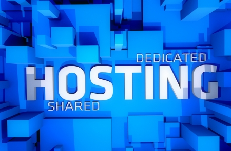 web: Dedicated Hosting - Shared Hosting 3D Render Illustration. Cool Blue 3D Blocks and Large Word Hosting Between. Perfect Illustration for Hosting Companies. Stock Photo