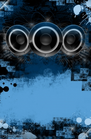 Grunge Music Event Poster Background. Blue and Black Cool Grunge Background with Some Splashes and Large Three Speakers on the Top. Perfect for Your Music Event!