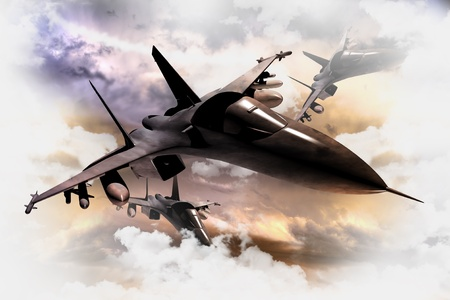 jet fighter: Tree Air Force Fighter Jets in Action 3D Render Illustration. Fighter Jets Between Clouds. Military Illustration Collection.