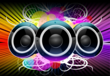 Illustration: Colors of Music. Cool Music Theme with Three Speakers, Floral Elements and Colorful Background. Archivio Fotografico