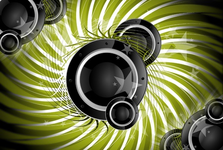 Spiral Music. Cool Music Theme with Bass Speakers. Green Spiral Background. Standard-Bild