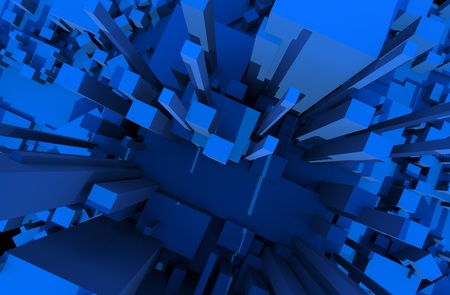 city view: Blue Blocks Abstract Background - 3D Render Illustration