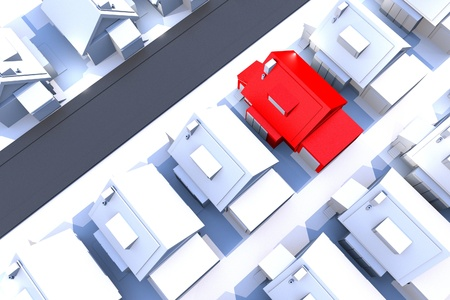 foreclosure: Housing Theme. Residential Area with Only One Red House. Great Idea for Mortgage, Real Estate or Foreclosure Related Artwork. 3D Render Illustration. Top View. Stock Photo