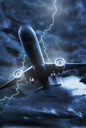 Airplane Lightning Strike Illustration. Stormy NIght Sky with Lightning Bolt Striking in the Jet Plane. Vertical Photo.