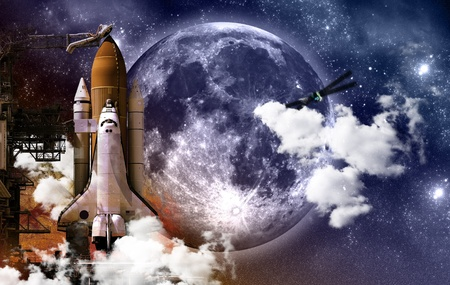 Mission Space - Space, Science Theme with Space Shuttle and Huge Moon. Stock Photo - 10642343