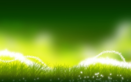 Mystic Green Meadow Illustratie. Perfect Copy Space. Sommige Mystic Lights boven de grond. Fantasy Illustratie. Stockfoto