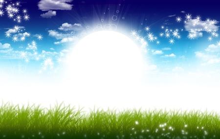 日当たりの良い草原イラスト。明るい太陽と春の牧草地。雲と星。
