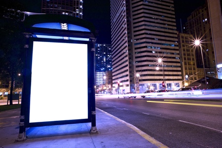 Bus Stop Ad Display - Backlite Advertising Display on the Bus Stop in Downtown Chicago.  Stock Photo - 10650249