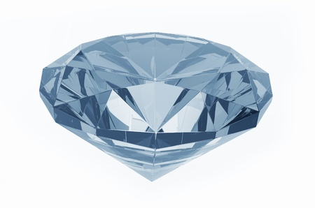 Crystal Clear Diamond (Blue Tones) Isolated on White. 3D Render Diamond Illustration.