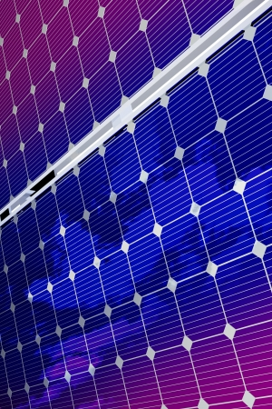 voltaic: Renewable Energy - Solar Panels Background. 3D Rendered Solar Panels with Sky Reflections. Vertical Background. Renewable Energy Theme.