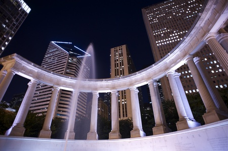 founders: Millennium Park Founders Fountain. Millennium Park at Night. Chicago, Illinois, USA. Horizontal Wide Angle Photography. Long Exposure.