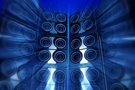 Loudness partij. Prestaties Thema met grote Bass Luidsprekers en Motion Blur Effect. Blauwe tinten. Perfect voor Techno Party flyers etc. 3d teruggegeven illustratie.