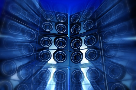 loud: Loudness Party. Performance Theme with Large Bass Speakers and Motion Blur Effect. Blue Tones. Perfect for Techno Party Flyers etc. 3D Rendered Illustration.