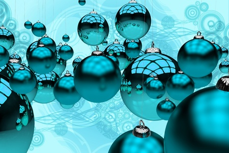Blue Christmas 3D Rendered Christmas Blue Glassy Ornaments on Abstract Blue Background Illustration. Holidays Theme. Stok Fotoğraf