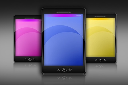 displays: Three Smartphones Illustration. Grayscale Background. Blue, Yellow and Pink Displays. Modern Smartphones.